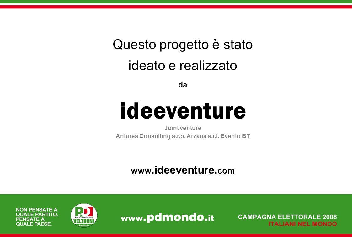 Questo progetto è stato ideato e realizzato da ideeventure Joint venture Antares Consulting s.r.o. Arzanà s.r.l. Evento BT www.ideeventure. com