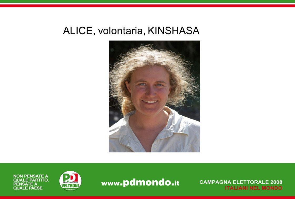 ALICE, volontaria, KINSHASA