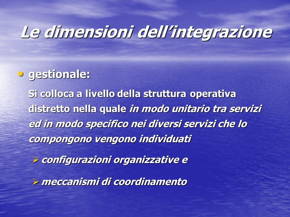 Le dimensioni dellintegrazione gestionale: gestionale: Si colloca a livello della struttura operativa distretto nella quale in modo unitario tra servizi ed in modo specifico nei diversi servizi che lo compongono vengono individuati configurazioni organizzative e configurazioni organizzative e meccanismi di coordinamento meccanismi di coordinamento