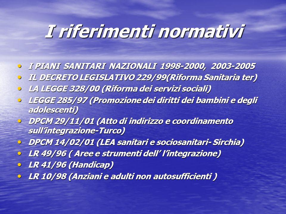 I riferimenti normativi I PIANI SANITARI NAZIONALI 1998-2000, 2003-2005 I PIANI SANITARI NAZIONALI 1998-2000, 2003-2005 IL DECRETO LEGISLATIVO 229/99(Riforma Sanitaria ter) IL DECRETO LEGISLATIVO 229/99(Riforma Sanitaria ter) LA LEGGE 328/00 (Riforma dei servizi sociali) LA LEGGE 328/00 (Riforma dei servizi sociali) LEGGE 285/97 (Promozione dei diritti dei bambini e degli adolescenti) LEGGE 285/97 (Promozione dei diritti dei bambini e degli adolescenti) DPCM 29/11/01 (Atto di indirizzo e coordinamento sullintegrazione-Turco) DPCM 29/11/01 (Atto di indirizzo e coordinamento sullintegrazione-Turco) DPCM 14/02/01 (LEA sanitari e sociosanitari- Sirchia) DPCM 14/02/01 (LEA sanitari e sociosanitari- Sirchia) LR 49/96 ( Aree e strumenti dell lintegrazione) LR 49/96 ( Aree e strumenti dell lintegrazione) LR 41/96 (Handicap) LR 41/96 (Handicap) LR 10/98 (Anziani e adulti non autosufficienti ) LR 10/98 (Anziani e adulti non autosufficienti )
