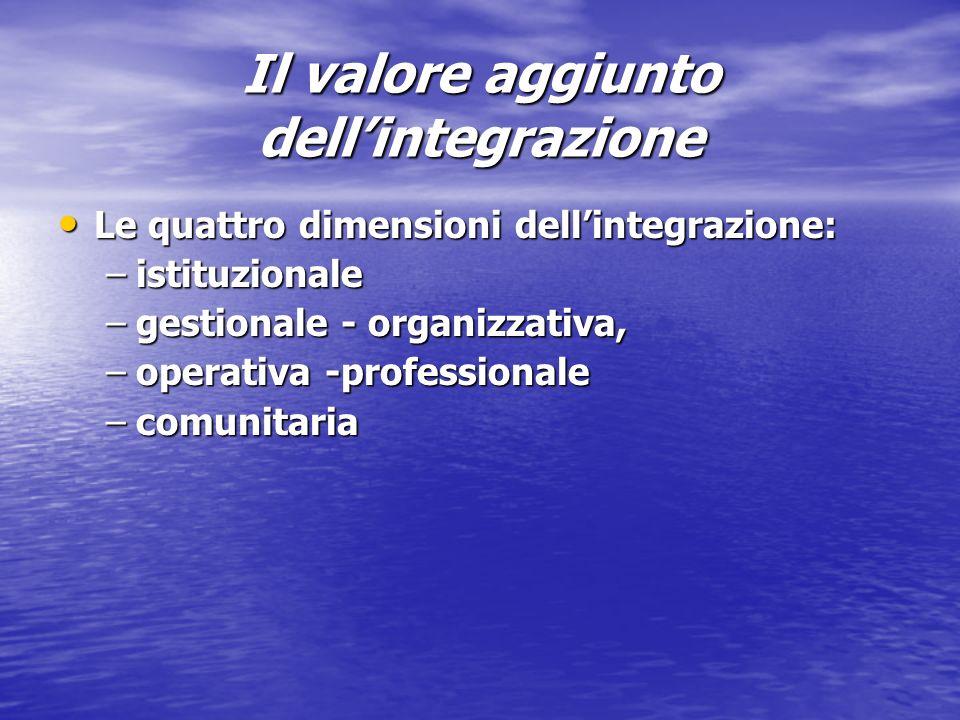 Il valore aggiunto dellintegrazione Le quattro dimensioni dellintegrazione: Le quattro dimensioni dellintegrazione: –istituzionale –gestionale - organizzativa, –operativa -professionale –comunitaria