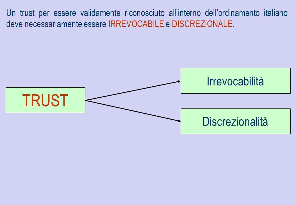 Un trust per essere validamente riconosciuto allinterno dellordinamento italiano deve necessariamente essere IRREVOCABILE e DISCREZIONALE. Irrevocabil