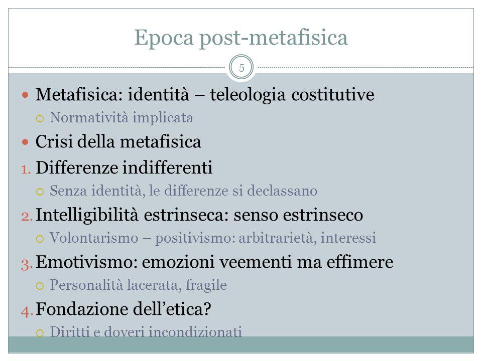 Epoca post-metafisica Metafisica: identità – teleologia costitutive Normatività implicata Crisi della metafisica 1. Differenze indifferenti Senza iden