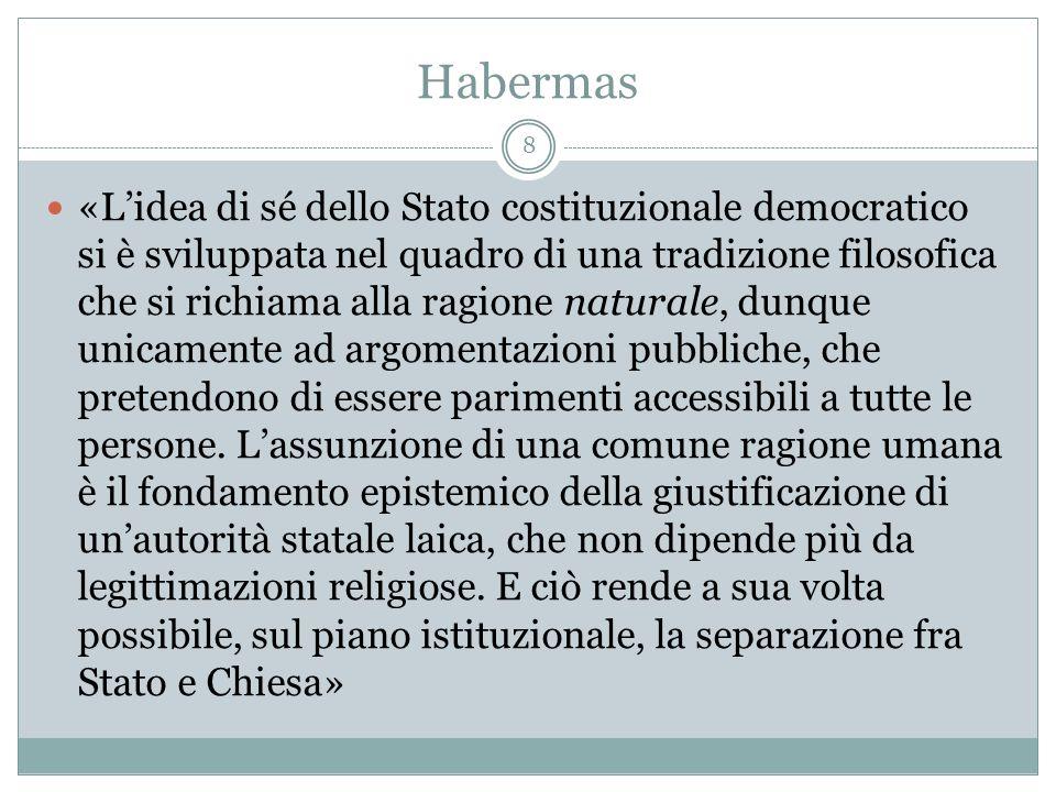 Habermas «Lidea di sé dello Stato costituzionale democratico si è sviluppata nel quadro di una tradizione filosofica che si richiama alla ragione natu