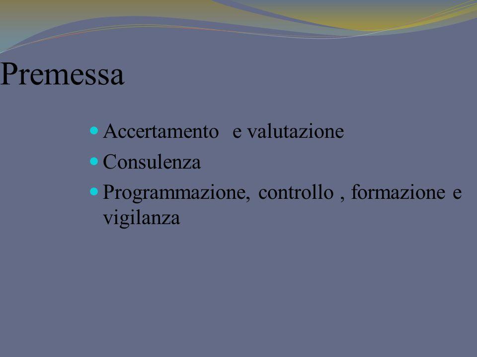 Premessa Accertamento e valutazione Consulenza Programmazione, controllo, formazione e vigilanza