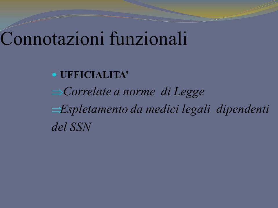 Connotazioni funzionali UFFICIALITA Correlate a norme di Legge Espletamento da medici legali dipendenti del SSN
