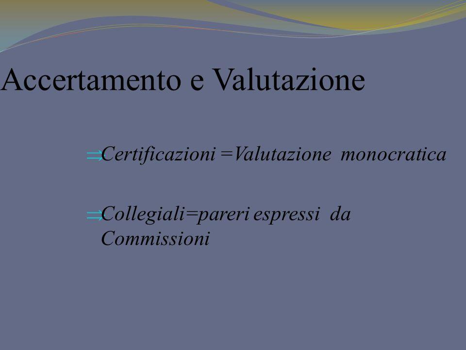 Accertamento e Valutazione Certificazioni =Valutazione monocratica Collegiali=pareri espressi da Commissioni