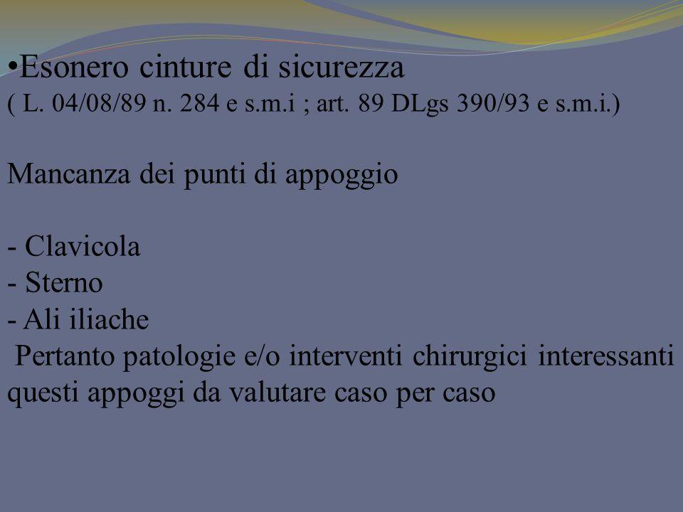 Esonero cinture di sicurezza ( L. 04/08/89 n. 284 e s.m.i ; art. 89 DLgs 390/93 e s.m.i.) Mancanza dei punti di appoggio - Clavicola - Sterno - Ali il