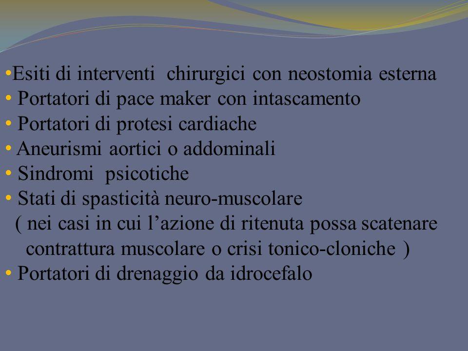 Esiti di interventi chirurgici con neostomia esterna Portatori di pace maker con intascamento Portatori di protesi cardiache Aneurismi aortici o addom
