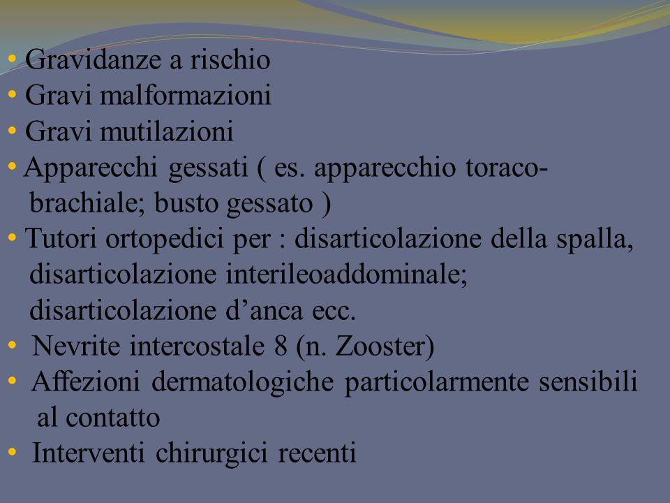 Gravidanze a rischio Gravi malformazioni Gravi mutilazioni Apparecchi gessati ( es. apparecchio toraco- brachiale; busto gessato ) Tutori ortopedici p