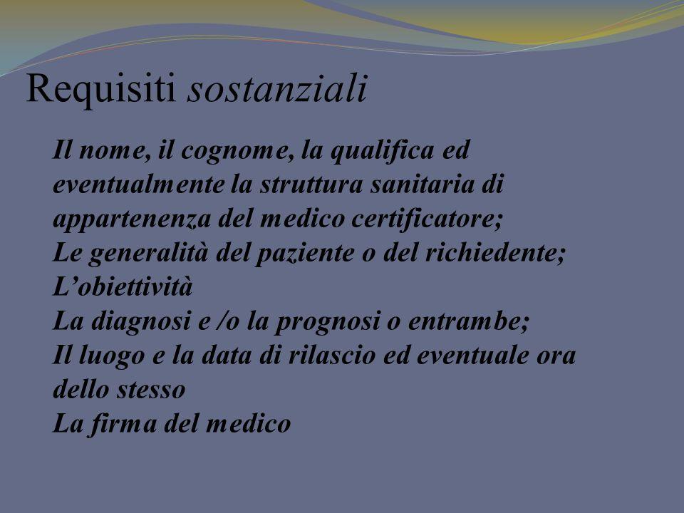 Requisiti sostanziali Il nome, il cognome, la qualifica ed eventualmente la struttura sanitaria di appartenenza del medico certificatore; Le generalit