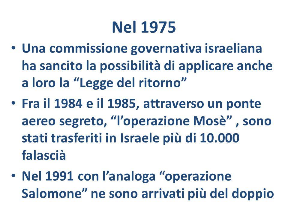 Nel 1975 Una commissione governativa israeliana ha sancito la possibilità di applicare anche a loro la Legge del ritorno Fra il 1984 e il 1985, attrav