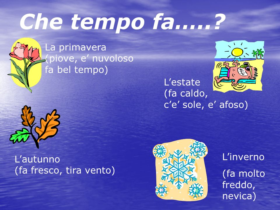 Key Question: Quale la tua stagione preferita? Quale la tua stagione preferita? What is your favorite season? What is your favorite season? La mia sta