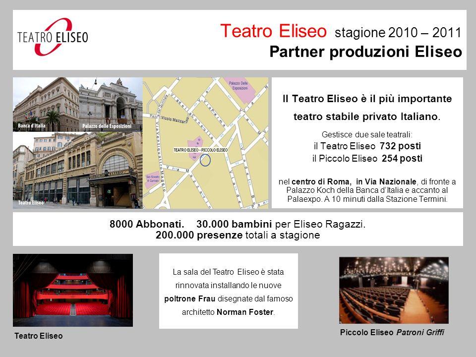 Teatro Eliseo stagione 2010 – 2011 Partner produzioni Eliseo Il Teatro Eliseo è il più importante teatro stabile privato Italiano.