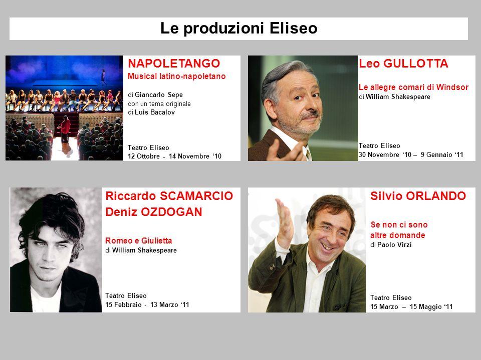 Le produzioni Eliseo NAPOLETANGO Musical latino-napoletano di Giancarlo Sepe con un tema originale di Luis Bacalov Teatro Eliseo 12 Ottobre - 14 Novem