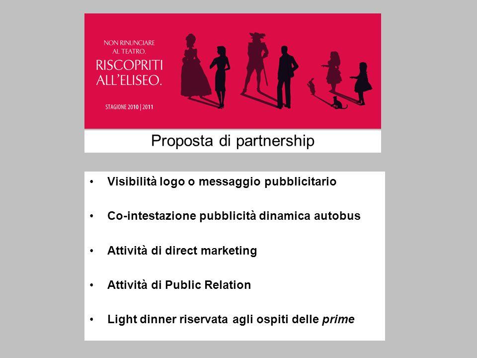Proposta di partnership Visibilità logo o messaggio pubblicitario Co-intestazione pubblicità dinamica autobus Attività di direct marketing Attività di