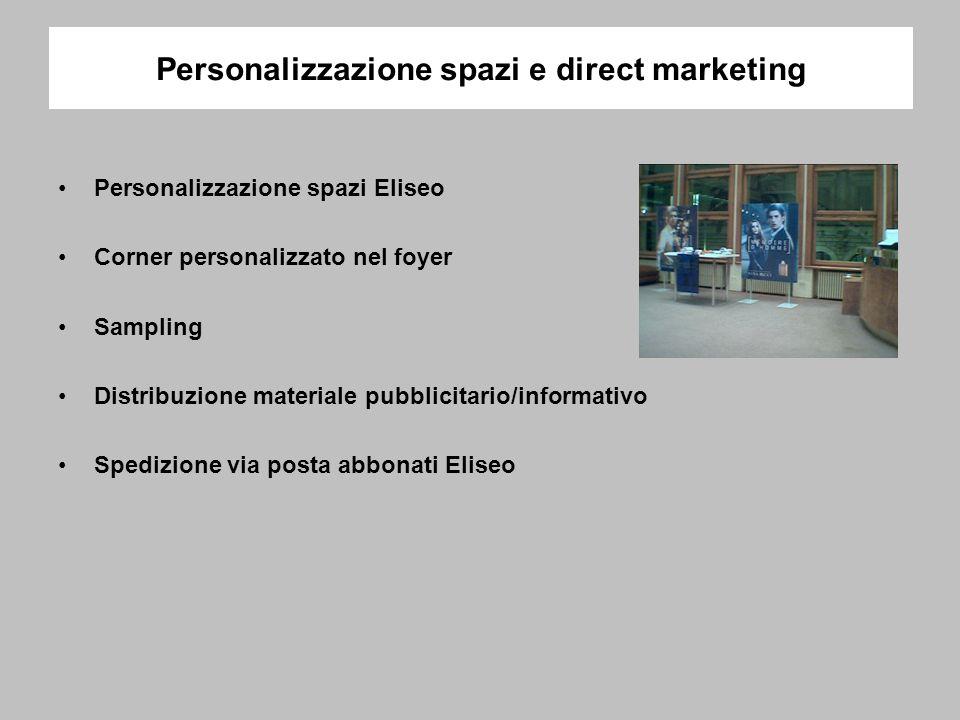 Personalizzazione spazi e direct marketing Personalizzazione spazi Eliseo Corner personalizzato nel foyer Sampling Distribuzione materiale pubblicitario/informativo Spedizione via posta abbonati Eliseo