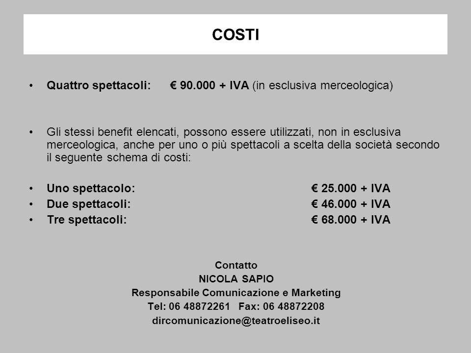 COSTI Quattro spettacoli: 90.000 + IVA (in esclusiva merceologica) Gli stessi benefit elencati, possono essere utilizzati, non in esclusiva merceologica, anche per uno o più spettacoli a scelta della società secondo il seguente schema di costi: Uno spettacolo: 25.000 + IVA Due spettacoli: 46.000 + IVA Tre spettacoli: 68.000 + IVA Contatto NICOLA SAPIO Responsabile Comunicazione e Marketing Tel: 06 48872261 Fax: 06 48872208 dircomunicazione@teatroeliseo.it