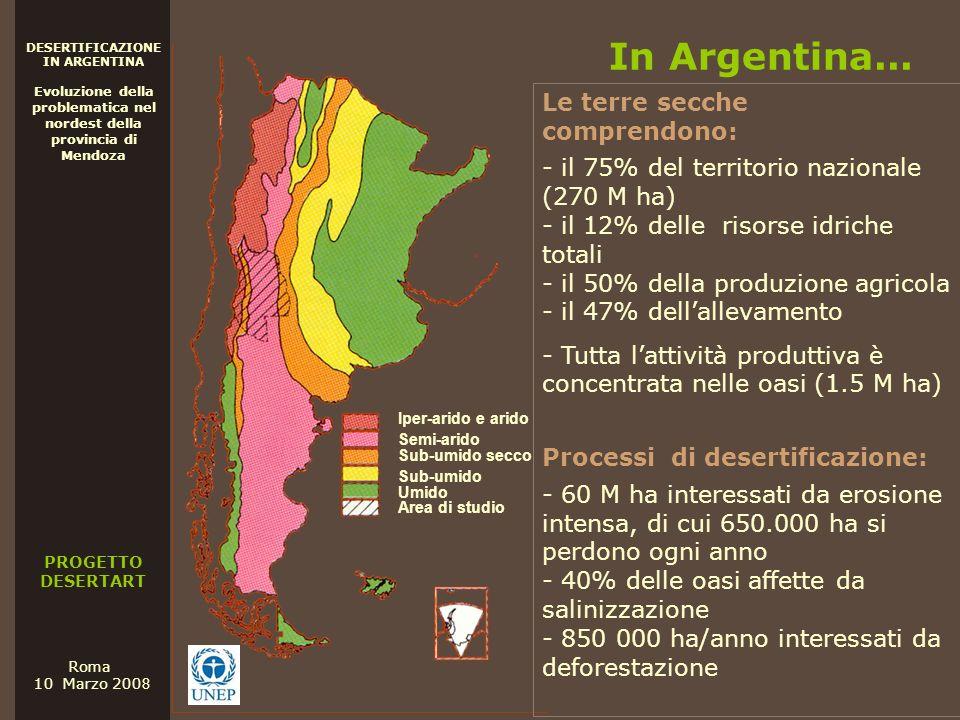 PROGETTO DESERTART DESERTIFICAZIONE IN ARGENTINA Evoluzione della problematica nel nordest della provincia di Mendoza Roma 10 Marzo 200 8 In Argentina