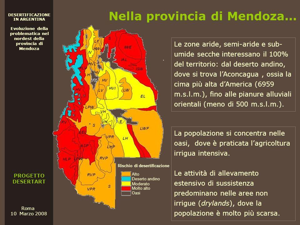PROGETTO DESERTART DESERTIFICAZIONE IN ARGENTINA Evoluzione della problematica nel nordest della provincia di Mendoza Roma 10 Marzo 200 8 Nella provin