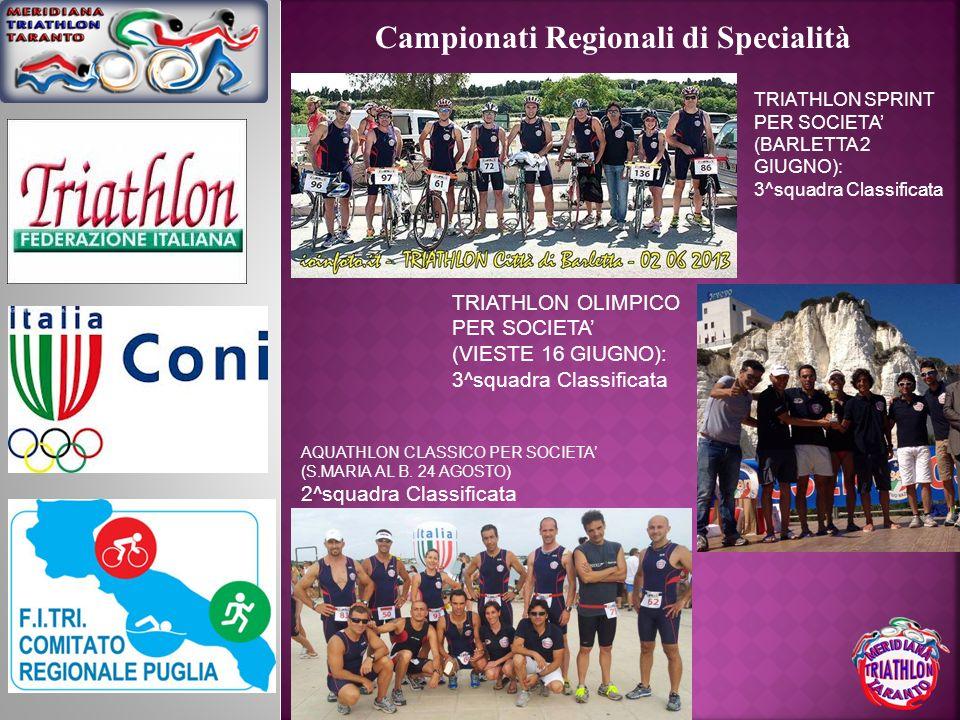 Campionati Regionali di Specialità TRIATHLON SPRINT PER SOCIETA (BARLETTA 2 GIUGNO): 3^squadra Classificata TRIATHLON OLIMPICO PER SOCIETA (VIESTE 16