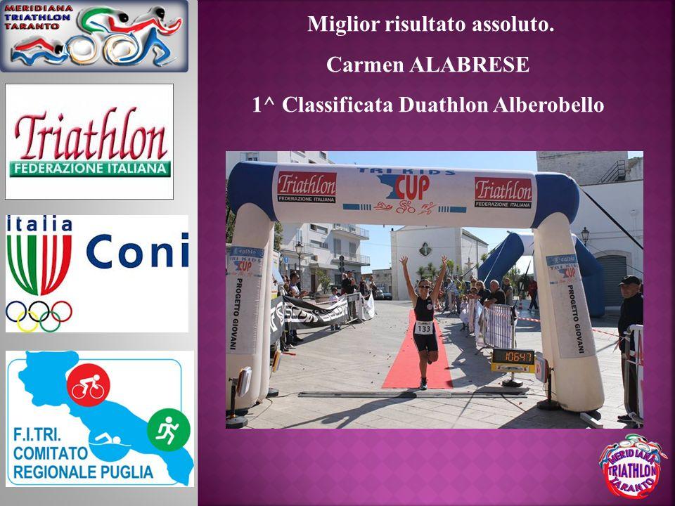 Miglior risultato assoluto. Carmen ALABRESE 1^ Classificata Duathlon Alberobello