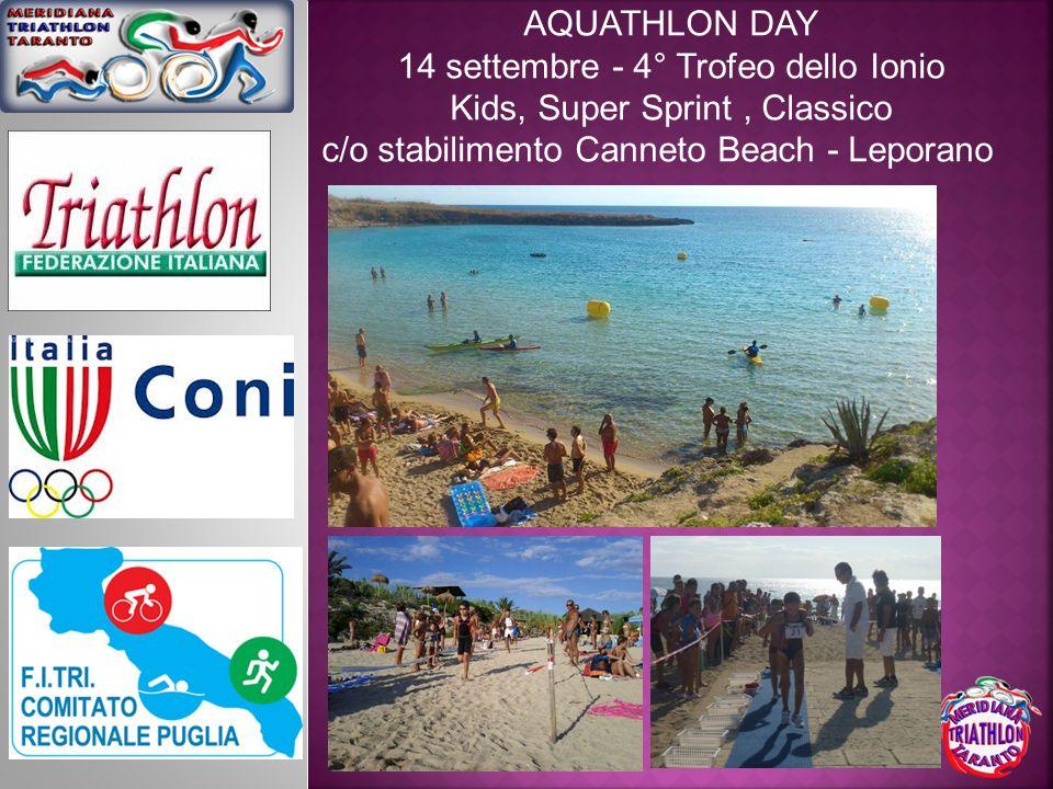 AQUATHLON DAY 14 settembre - 4° Trofeo dello Ionio Kids, Super Sprint, Classico c/o stabilimento Canneto Beach - Leporano