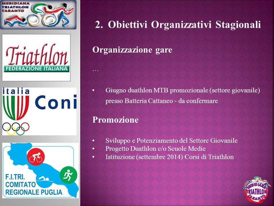 2. Obiettivi Organizzativi Stagionali Organizzazione gare … Giugno duathlon MTB promozionale (settore giovanile) presso Batteria Cattaneo - da conferm