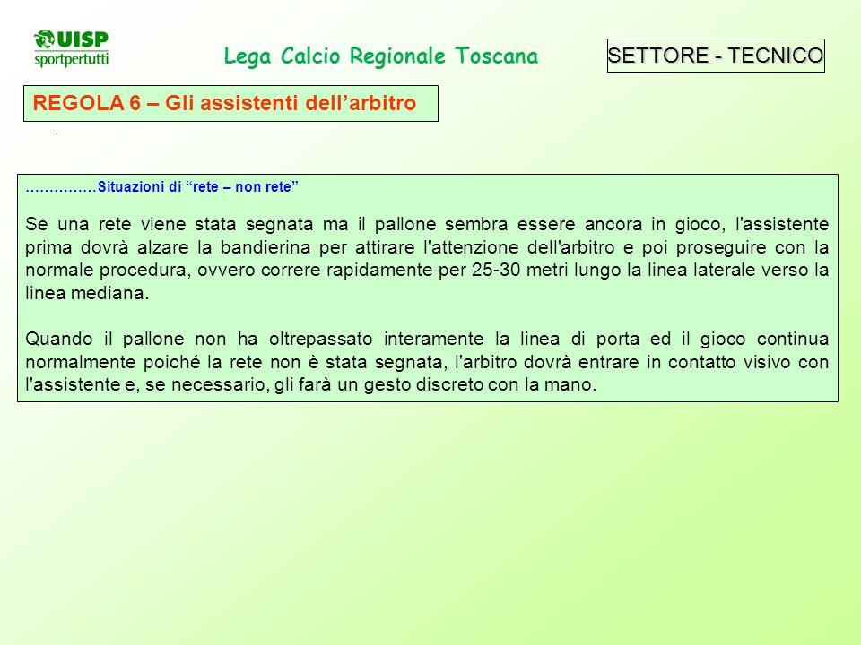 SETTORE - TECNICO Lega Calcio Regionale Toscana. REGOLA 6 – Gli assistenti dellarbitro ……………Situazioni di rete – non rete Se una rete viene stata segn