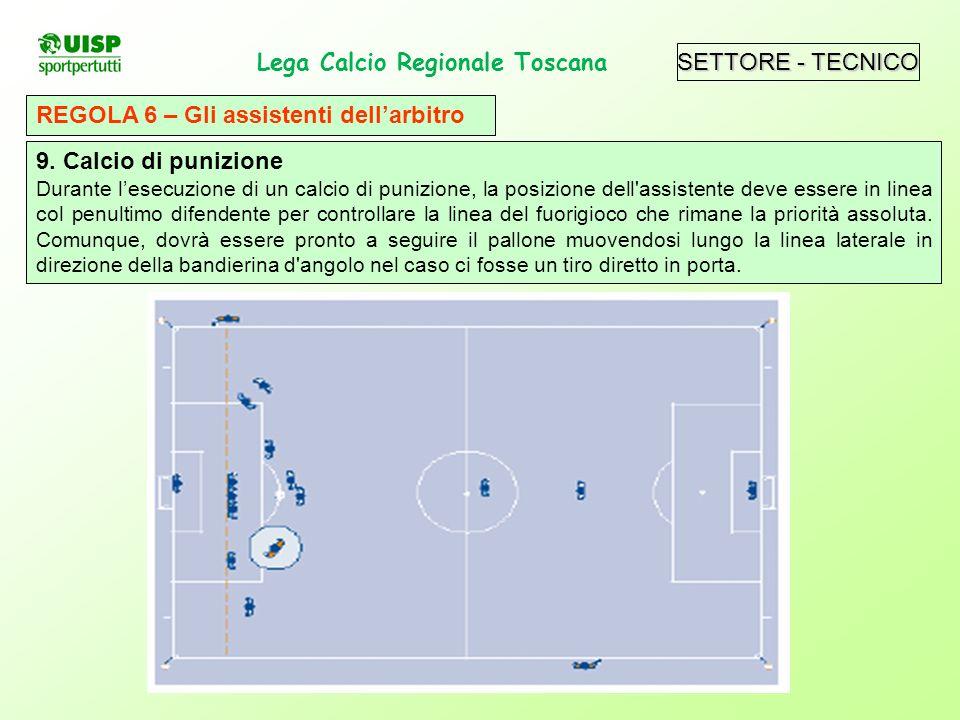 SETTORE - TECNICO Lega Calcio Regionale Toscana. REGOLA 6 – Gli assistenti dellarbitro 9. Calcio di punizione Durante lesecuzione di un calcio di puni