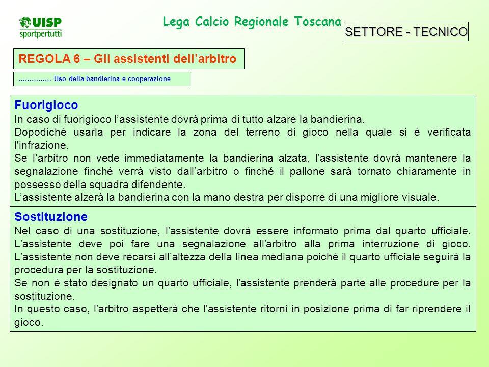 SETTORE - TECNICO Lega Calcio Regionale Toscana. REGOLA 6 – Gli assistenti dellarbitro Fuorigioco In caso di fuorigioco lassistente dovrà prima di tut