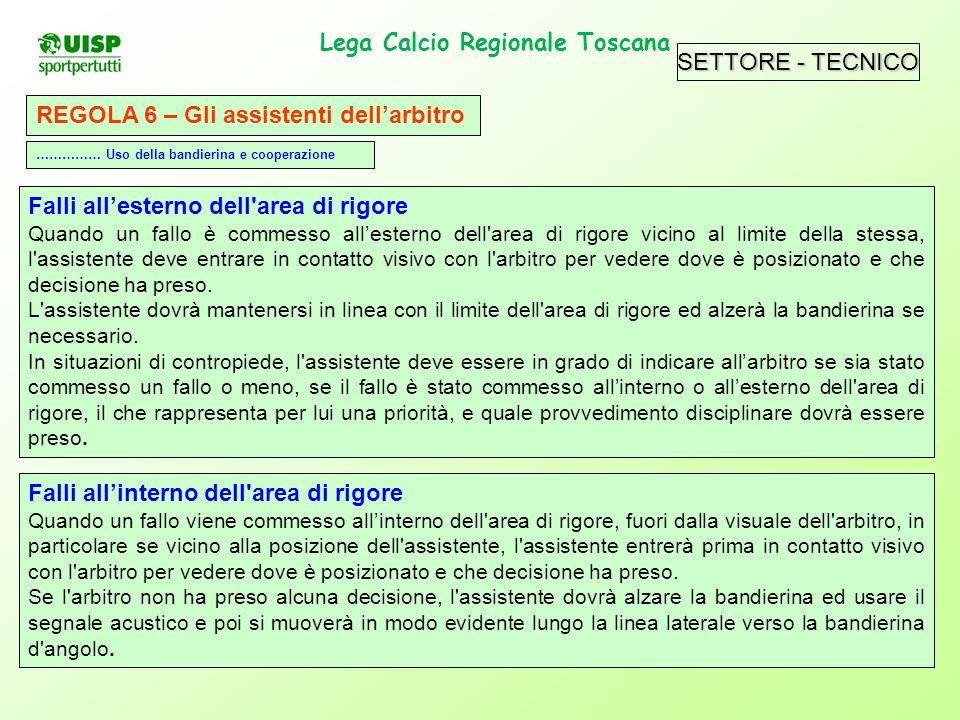 SETTORE - TECNICO Lega Calcio Regionale Toscana. REGOLA 6 – Gli assistenti dellarbitro Falli allesterno dell'area di rigore Quando un fallo è commesso