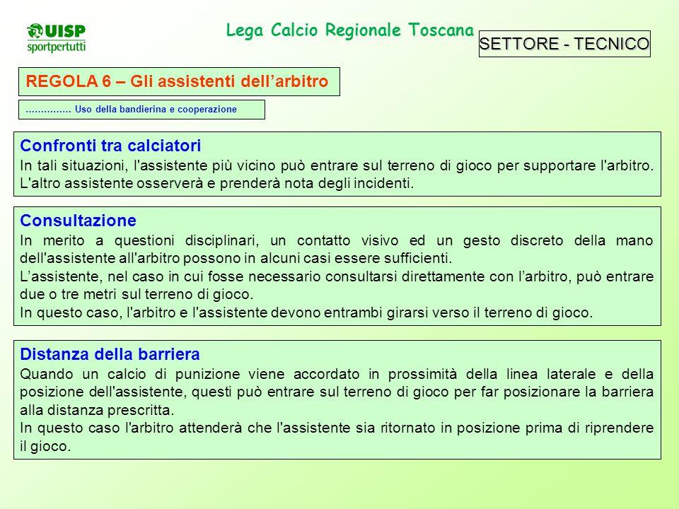 SETTORE - TECNICO Lega Calcio Regionale Toscana. REGOLA 6 – Gli assistenti dellarbitro Confronti tra calciatori In tali situazioni, l'assistente più v