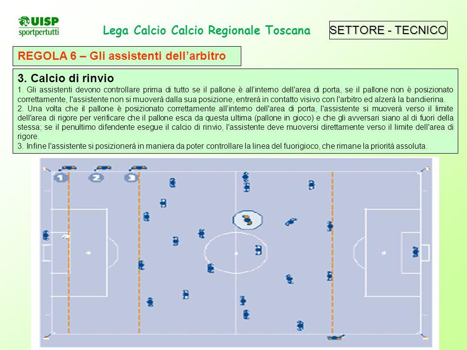 SETTORE - TECNICO Lega Calcio Calcio Regionale Toscana. REGOLA 6 – Gli assistenti dellarbitro 3. Calcio di rinvio 1. Gli assistenti devono controllare