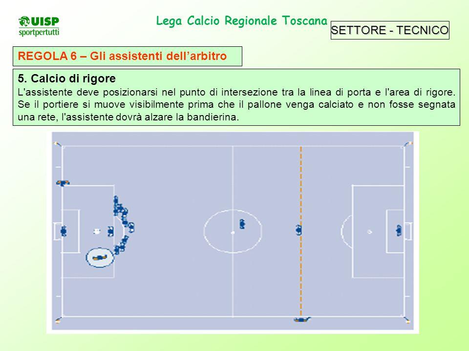 SETTORE - TECNICO Lega Calcio Regionale Toscana. REGOLA 6 – Gli assistenti dellarbitro 5. Calcio di rigore L'assistente deve posizionarsi nel punto di