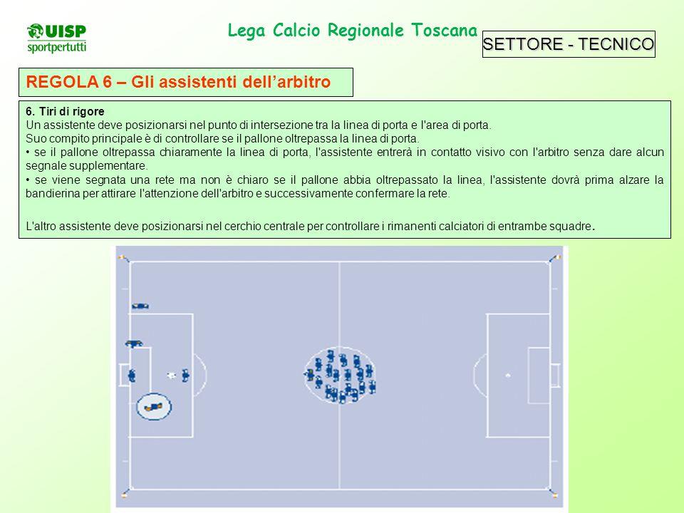 SETTORE - TECNICO Lega Calcio Regionale Toscana. REGOLA 6 – Gli assistenti dellarbitro 6. Tiri di rigore Un assistente deve posizionarsi nel punto di
