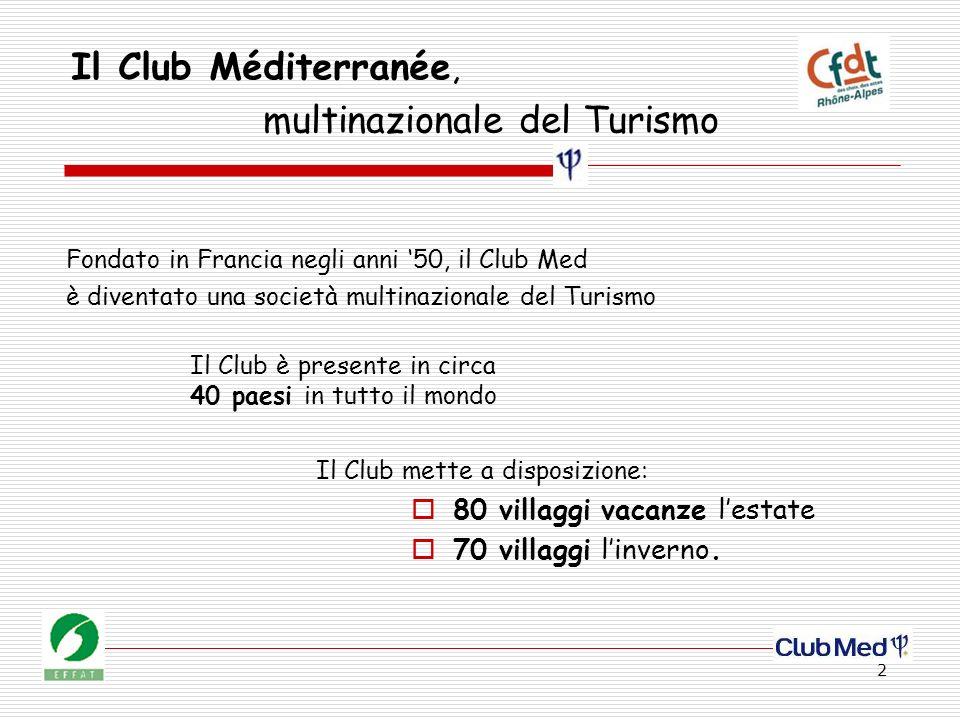 2 Il Club Méditerranée, Fondato in Francia negli anni 50, il Club Med è diventato una società multinazionale del Turismo Il Club mette a disposizione: