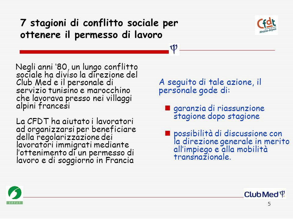 5 7 stagioni di conflitto sociale per ottenere il permesso di lavoro Negli anni 80, un lungo conflitto sociale ha diviso la direzione del Club Med e i
