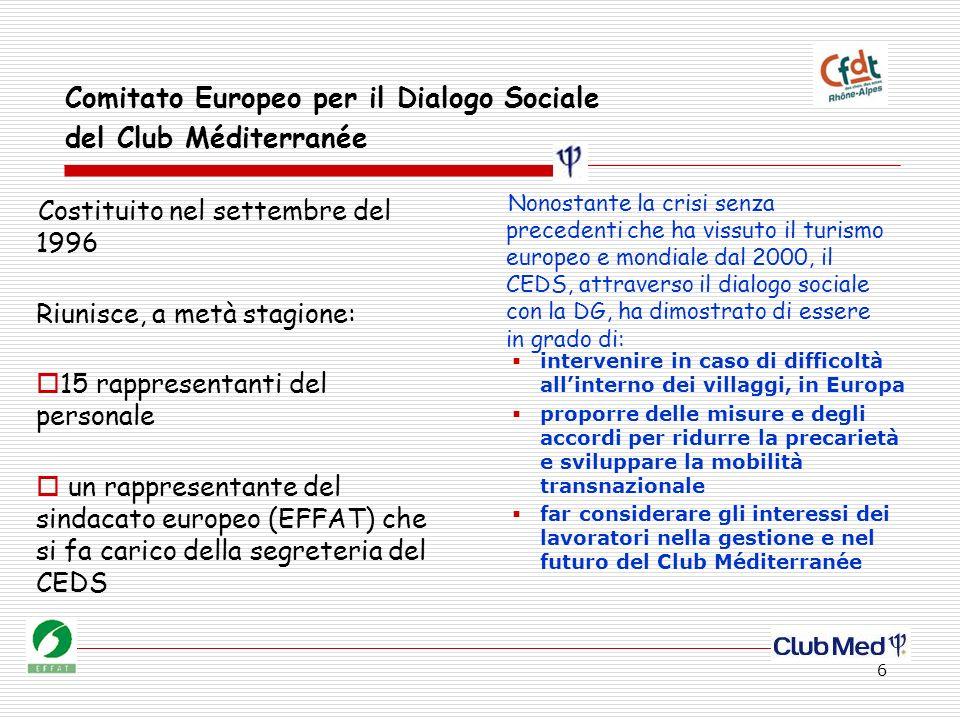 6 Comitato Europeo per il Dialogo Sociale del Club Méditerranée Costituito nel settembre del 1996 Riunisce, a metà stagione: 15 rappresentanti del per