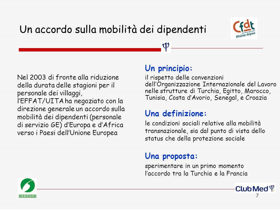 7 Un accordo sulla mobilità dei dipendenti Nel 2003 di fronte alla riduzione della durata delle stagioni per il personale dei villaggi, lEFFAT/UITA ha