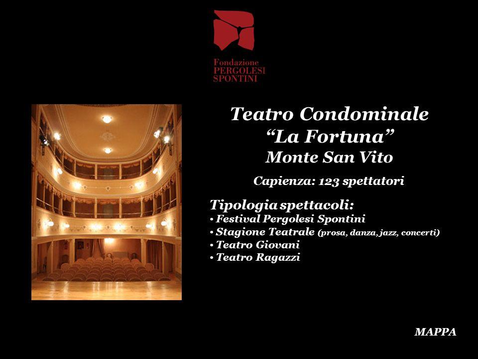 Teatro Condominale La Fortuna Monte San Vito Capienza: 123 spettatori Tipologia spettacoli: Festival Pergolesi Spontini Stagione Teatrale (prosa, danz