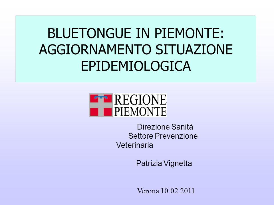BLUETONGUE IN PIEMONTE: AGGIORNAMENTO SITUAZIONE EPIDEMIOLOGICA Direzione Sanità Settore Prevenzione Veterinaria Patrizia Vignetta Verona 10.02.2011