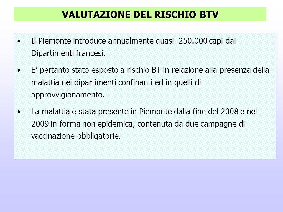 Il Piemonte introduce annualmente quasi 250.000 capi dai Dipartimenti francesi. E pertanto stato esposto a rischio BT in relazione alla presenza della