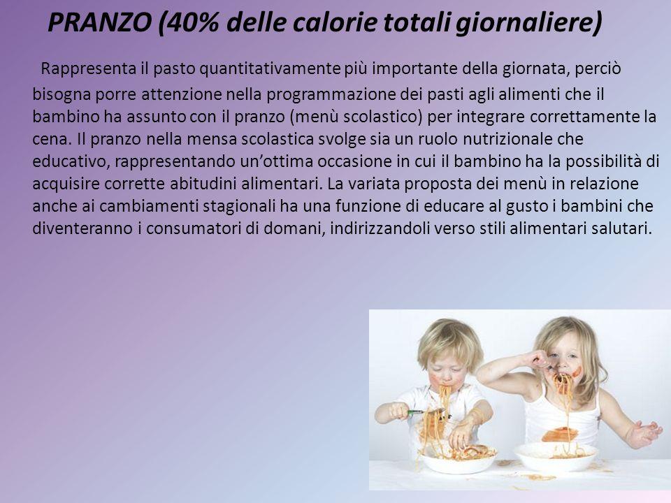 PRANZO (40% delle calorie totali giornaliere) Rappresenta il pasto quantitativamente più importante della giornata, perciò bisogna porre attenzione ne