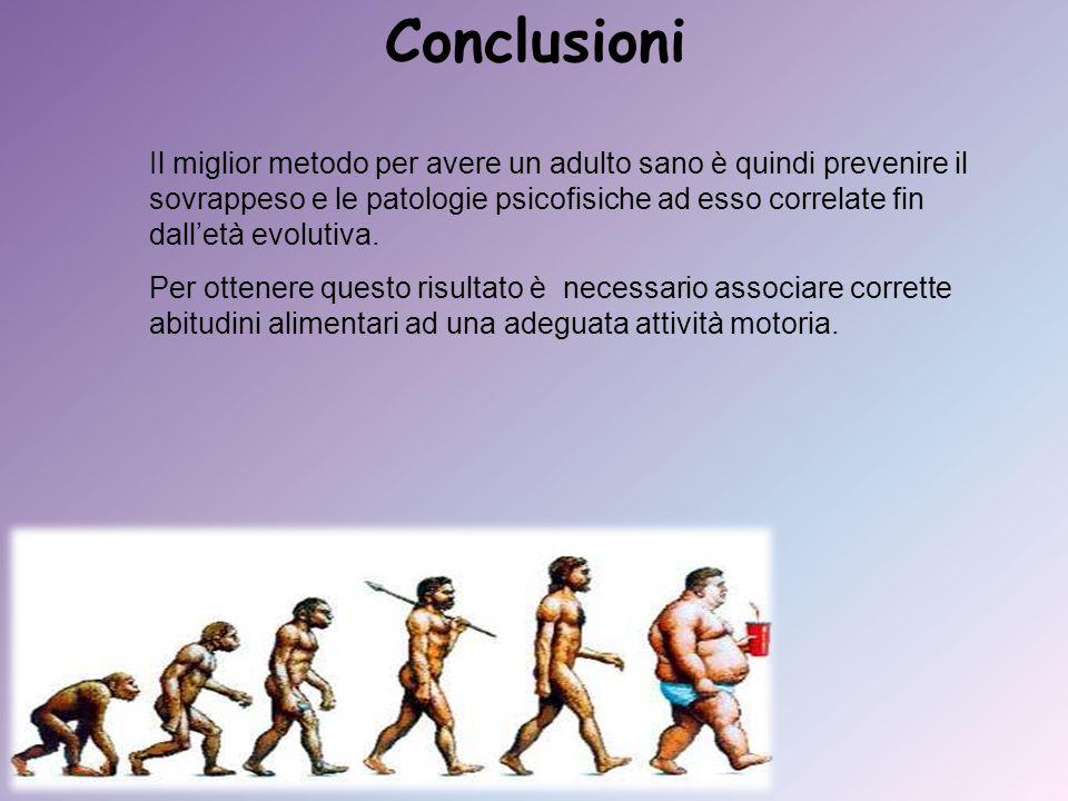 Conclusioni Il miglior metodo per avere un adulto sano è quindi prevenire il sovrappeso e le patologie psicofisiche ad esso correlate fin dalletà evol
