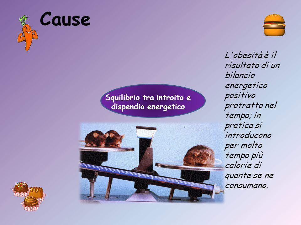 Cause Squilibrio tra introito e dispendio energetico L'obesità è il risultato di un bilancio energetico positivo protratto nel tempo; in pratica si in