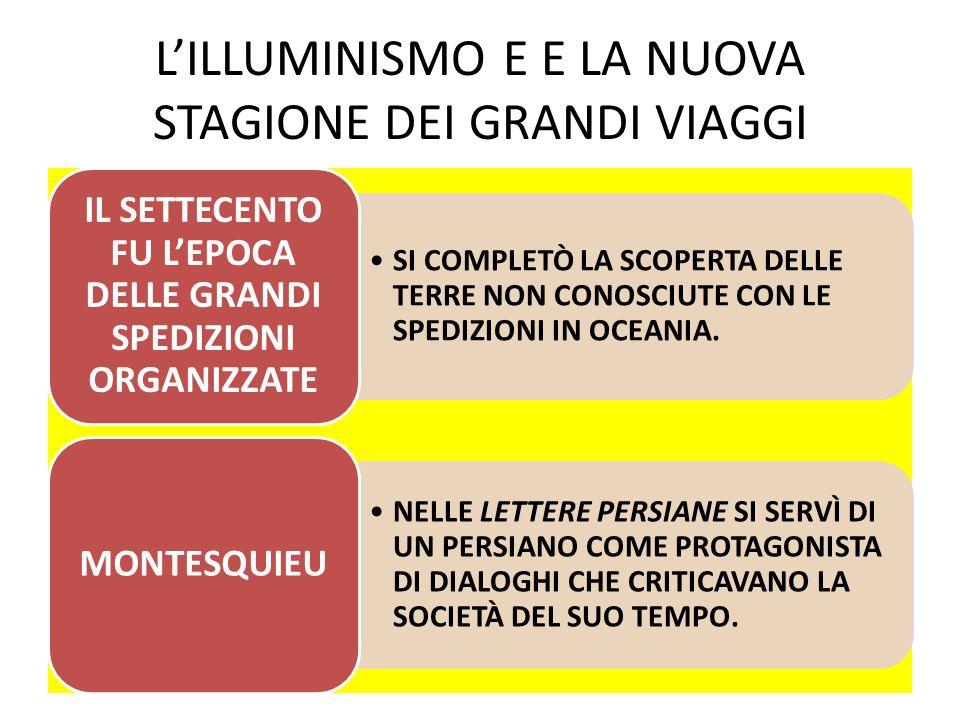 LILLUMINISMO E E LA NUOVA STAGIONE DEI GRANDI VIAGGI