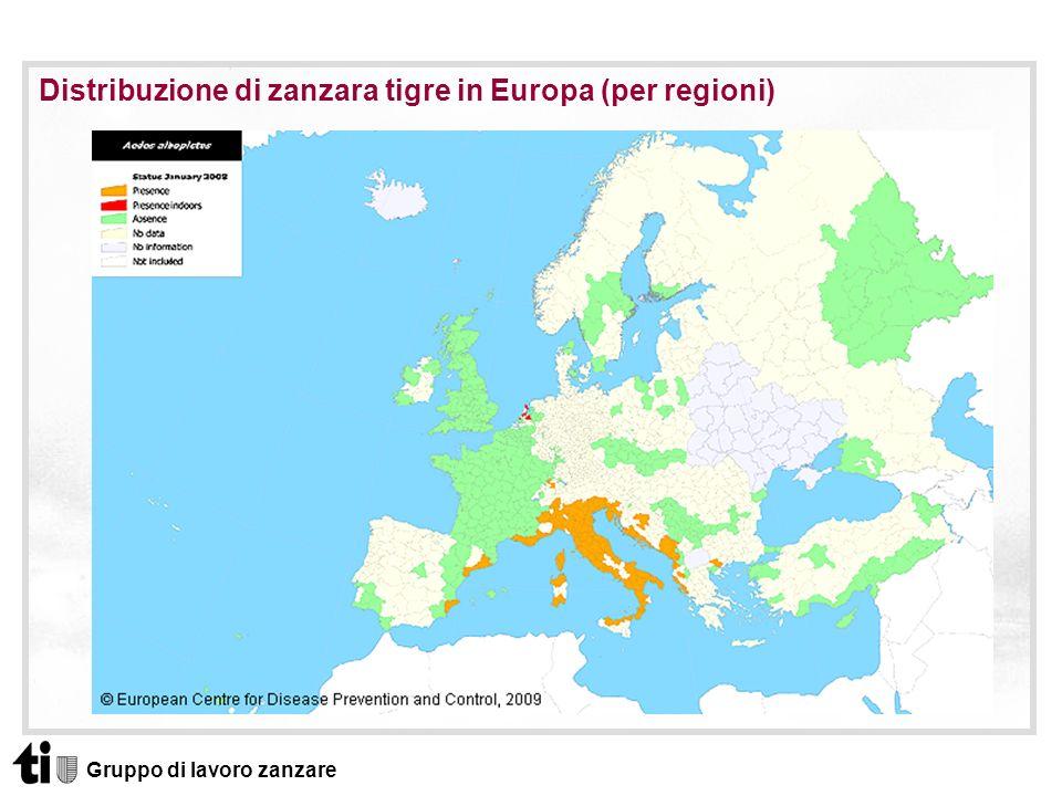 Gruppo di lavoro zanzare Distribuzione di zanzara tigre in Europa (per regioni)