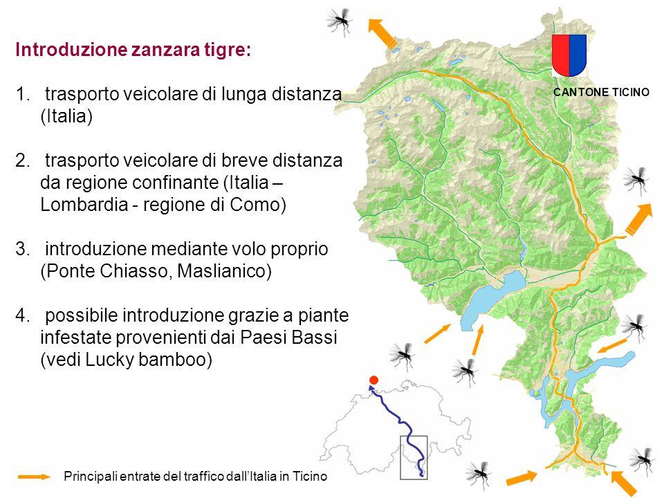 Principali entrate del traffico dallItalia in Ticino Introduzione zanzara tigre: 1. trasporto veicolare di lunga distanza (Italia) 2. trasporto veicol