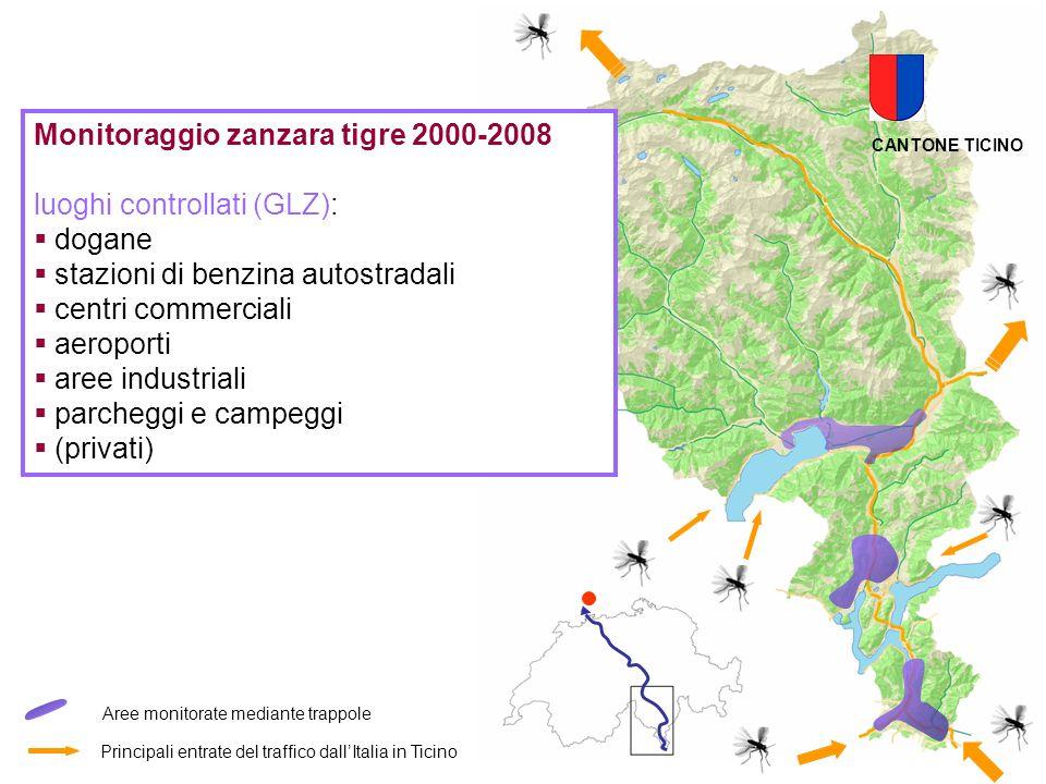 Principali entrate del traffico dallItalia in Ticino Aree monitorate mediante trappole CANTONE TICINO Monitoraggio zanzara tigre 2000-2008 luoghi cont